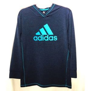 Adidas hoodie lightweight pullover blue & teal